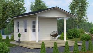 Aukusti on tilava ja toimiva aitta kahdella ikkunalla. Kooltaan aitta on kuin keskiverto makuuhuone.